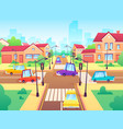 crossroad with cars city suburb traffic jam vector image vector image