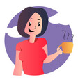 cute cartoon girl holding coffee on white vector image vector image