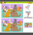 differences game with dog or puppy characters vector image vector image