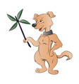 dog holding a paper windmill vector image