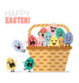 easter eggs character in basket vector image vector image