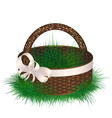 Empty wicker basket decorated ribbon with bow vector image