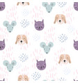 funny pattern with cartoon cats dogs and mice vector image vector image
