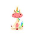 funny unicorn sitting in lotus position fantasy vector image vector image