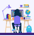 girl sitting at desk learning with computer vector image