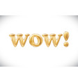 gold wow alphabet balloons acronym and vector image vector image