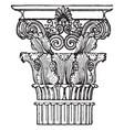 greek capital corinthian vintage engraving vector image vector image