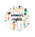 group of protesting young women feminine concept vector image