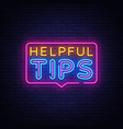 helpful tips neon text helpful tips neon vector image vector image
