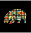 hippo mammal color silhouette animal vector image vector image
