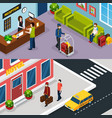 hotel service isometric banner set vector image
