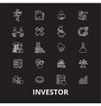investor editable line icons set on black vector image vector image