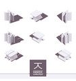 isometric korean alphabet letter j in white color vector image vector image