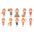 little caucasian girl set vector image vector image