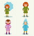 little girl in warm clothes vector image vector image