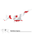 Map of Northern Cyprus with flag vector image