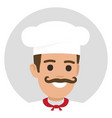 moustached smiling chief-cooker avatar profile vector image vector image