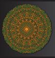 orange-green round ethnic mandala vector image