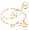 outline sleeping cat with fish vector image vector image