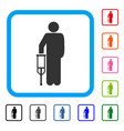 patient crutch framed icon vector image