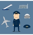 Pilot profession and aviation icons vector image