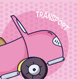 pink convertible over colorful background vector image