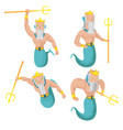 poseidon sea god character set vector image vector image