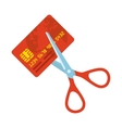 Red credit card and scissors vector image vector image