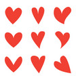 red heart shapes icon set love icons vector image vector image