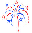 red white and blue stylized fireworks vector image