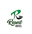 resort hotel business card with r letter icon vector image vector image