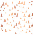 scattered rose gold foil triangles pattern vector image vector image