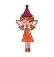 scribble party girl cartoon vector image vector image