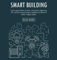 smart bulding banner outline style vector image