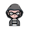 thief criminal with mask and coat hood vector image