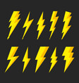 thunder bolt with flash lightning icons of vector image