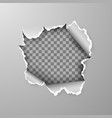 torn hole in sheet gray paper on transparent vector image vector image