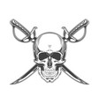 vintage monochrome skull and crossed sabers vector image