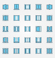 window blue icons set - open windows vector image
