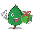 with gift mint leaves mascot cartoon vector image vector image