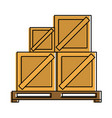 wooden boxes on pallets shipping delivey icon vector image vector image