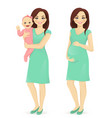 young mother set vector image