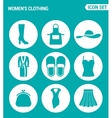 set of round icons white Women s clothing shoes vector image