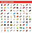 100 man icons set isometric 3d style vector image vector image