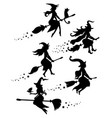 a set black silhouettes witches flying on a vector image