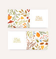 autumn botanical banners flat templates vector image vector image
