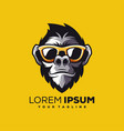 awesome cool monkey logo design vector image vector image