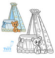 baby canopy toy bed and teddy bear outlined vector image vector image