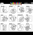 basic colors with fruits and food set for coloring vector image vector image