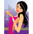 beautiful woman with cocktails in club vector image vector image
